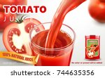 tomato juice ads  metal can... | Shutterstock .eps vector #744635356