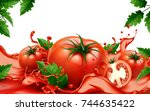 fresh tomatoes with flowing... | Shutterstock .eps vector #744635422