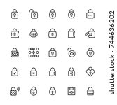 locks vector icon set in thin... | Shutterstock .eps vector #744636202