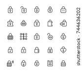 locks vector icon set in thin... | Shutterstock .eps vector #744636202
