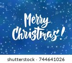 merry christmas text  hand... | Shutterstock .eps vector #744641026