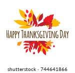 flat design style happy...   Shutterstock . vector #744641866