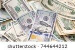 us dollar bills. close up.... | Shutterstock . vector #744644212