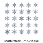 cute snowflakes collection... | Shutterstock .eps vector #744646558