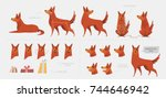 set for creating a dog... | Shutterstock .eps vector #744646942