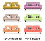 modern sofa isolated on white... | Shutterstock .eps vector #744650095