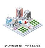 winter christmas urban quarter... | Shutterstock .eps vector #744652786
