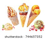 watercolor ice cream set. cold... | Shutterstock . vector #744657352