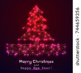 vector christmas tree from... | Shutterstock .eps vector #744659356