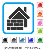 realty brick wall icon. flat... | Shutterstock .eps vector #744664912