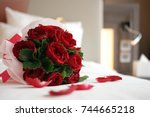 Stock photo rose bouquet soft focus of a rose bouquet on a bed romantic honeymoon and valentine s concept 744665218