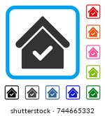 valid house icon. flat gray... | Shutterstock .eps vector #744665332