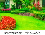 green lawn  the front lawn for... | Shutterstock . vector #744666226