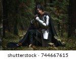 portrait of beautiful medieval... | Shutterstock . vector #744667615