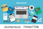 web design  top view of a desk... | Shutterstock .eps vector #744667708