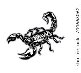 tattoo scorpion. vector zodiac | Shutterstock .eps vector #744668062