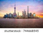 china shanghai city skyline at...   Shutterstock . vector #744668545