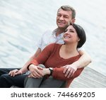 smiling  adult couple in love... | Shutterstock . vector #744669205