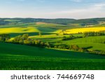 fields in moravian tuscany at... | Shutterstock . vector #744669748