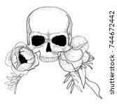 skull with peony flowers boho... | Shutterstock .eps vector #744672442
