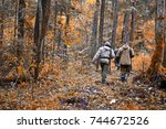 group of hunters during hunting ...   Shutterstock . vector #744672526