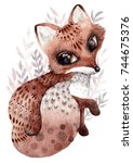 watercolor fox with ornaments.... | Shutterstock . vector #744675376