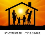 happy family in house silhouette | Shutterstock .eps vector #744675385