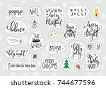 merry christmas tree happy new... | Shutterstock .eps vector #744677596