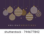 christmas greeting card  ... | Shutterstock .eps vector #744677842