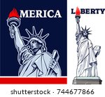 statue of liberty  nyc  usa... | Shutterstock .eps vector #744677866