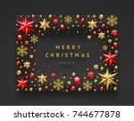 christmas greeting illustration.... | Shutterstock .eps vector #744677878