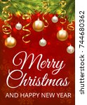 merry christmas greeting card... | Shutterstock .eps vector #744680362