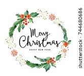 watercolor christmas wreath... | Shutterstock . vector #744680686