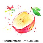 watercolor illustration of half ... | Shutterstock . vector #744681388