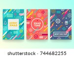 vector set of abstract holidays ... | Shutterstock .eps vector #744682255
