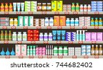 pharmacy shelves with medicine... | Shutterstock .eps vector #744682402