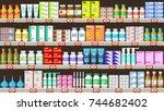 pharmacy shelves with medicine... | Shutterstock .eps vector #744682402