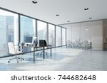 white open space office... | Shutterstock . vector #744682648