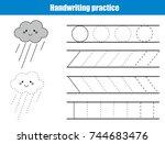 handwriting practice sheet.... | Shutterstock .eps vector #744683476