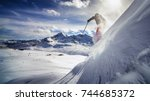 free ride skier  skiing down... | Shutterstock . vector #744685372