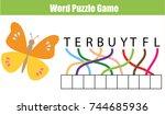 words puzzle children... | Shutterstock .eps vector #744685936