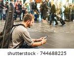 adventurous man at...   Shutterstock . vector #744688225
