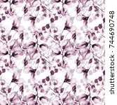 seamless pattern with spring... | Shutterstock . vector #744690748