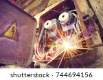 old electric power supply boxes.... | Shutterstock . vector #744694156