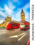 thge big ben  house of... | Shutterstock . vector #744696316