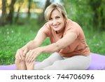 beautiful mature woman...   Shutterstock . vector #744706096