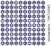 100 barber icons set in purple... | Shutterstock . vector #744713362