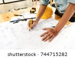 team of construction engineer... | Shutterstock . vector #744715282