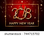 2018 happy new year background... | Shutterstock . vector #744715702