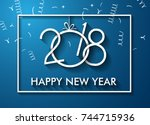 2018 happy new year background... | Shutterstock . vector #744715936